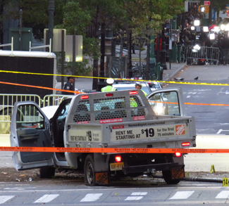 2017NYCTruckAttack, cc Wikicommons gh9449, modified, https://commons.wikimedia.org/wiki/File:2017_NYC_Truck_Attack_Home_Depot_Truck_(cropped).jpg