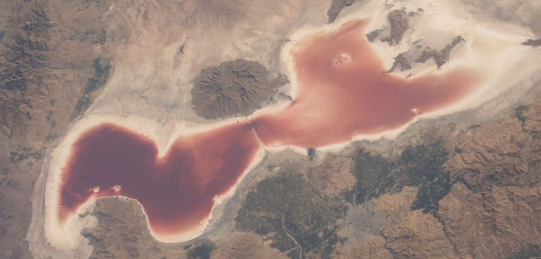 Iran's disappearing Lake Urmia from space in 2016. Photo credit: This image or video was catalogued by Johnson Space Center of the United States National Aeronautics and Space Administration (NASA) under Photo ID: ISS049-E-3471.