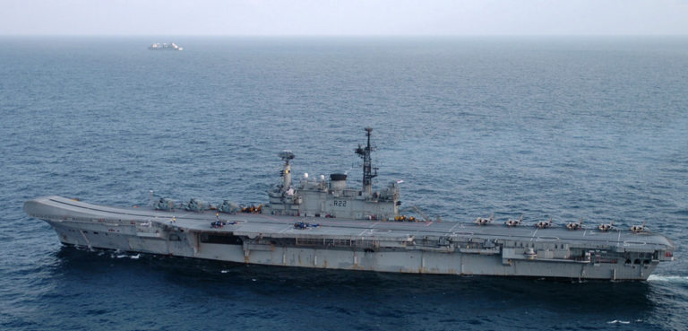 cc US Navy, modified, English: Indian Ocean (Sept. 25, 2005) – The Indian aircraft carrier CVH Viraat (R 22) underway in the Indian Ocean as part of exercise Malabar 2005. The exercise is designed to increase interoperability between the two navies while enhancing the cooperative security relationship between India and the United States. The at-sea exercise includes maritime interdiction, surface events, sub-surface, air events and personnel exchanges. U.S. Navy photo by Photographer's Mate 3rd Class Shannon E. Renfroe (RELEASED), https://commons.wikimedia.org/wiki/File:US_Navy_050925-N-0413R-043_The_Indian_aircraft_carrier_CVH_Viraat_(R_22)_underway_in_the_Indian_Ocean_as_part_of_exercise_Malabar_2005.jpg